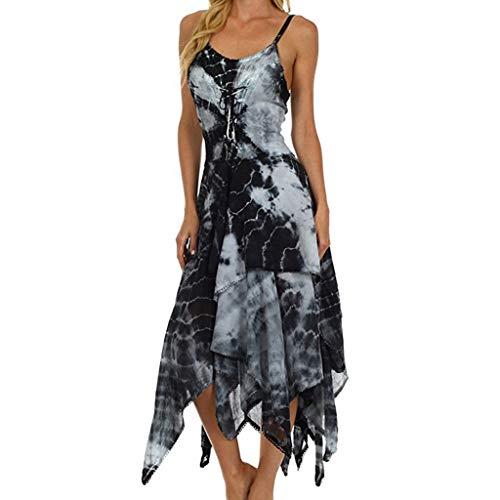 MAYOGO Kleid Damen Knielang Kariertes Zipfel Hem Unregelmäßiges Kleider,Ärmellose/Halbarm Off Shoulder Elegant Gitter Midikleid -