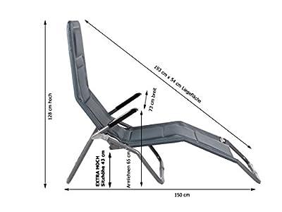 Meerweh Aluminium Luxus Gartenliege EXTRA HOCH, Sitzhöhe ca. 43 cm, Bäderliege Saunaliege, anthrazit von Meerweh - Gartenmöbel von Du und Dein Garten