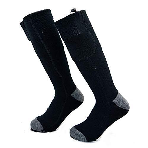 XGZ Calcetines calefactados, con batería eléctrica, calcetín térmico Aislado para Hombres y Mujeres, Calentador de pies para Clima frío, esquí, Caza, Pesca, Senderismo, Deportes al Aire Libre, Negro