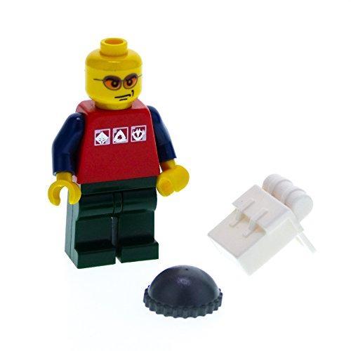 1 x Lego System Figur Mann City Torso rot 3 silber Logos Arme dunkel blau Hose Beine dunkel grün Sonnenbrille orange Rucksack weiss cty066