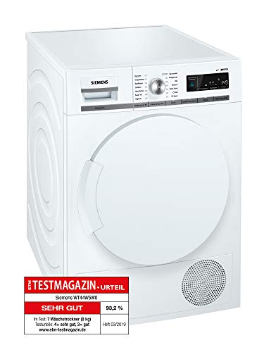 Siemens iQ700 WT44W5W0 iSensoric Premium Wärmepumpentrockner / A+++ / 8 kg / Großes Display mit Endezeitvorwahl / Selbstreinigungs-Automatik / weiß