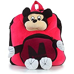 Bazaar Pirates Mickey Mouse School Bag Or Picnic Bag For Kids, Children, Plush Backpack, Soft Toy ( Pink )