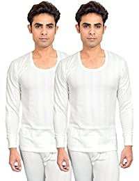 RedFort Men's White Thermal Top Pack of 2 White Color