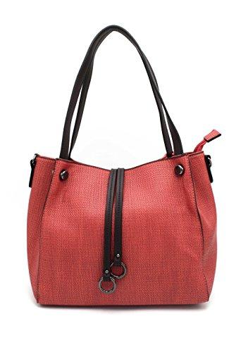 Flora Co - Sac à main/Sac porté épaule/Sac femme imitation cuir (Rouge)