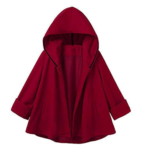iHENGH Damen Herbst Winter Bequem Mantel Lässig Mode Jacke Frauen Kausal Taschen Casual Hoodies Bluse Solide Mantel Outwear Mantel Outcoat