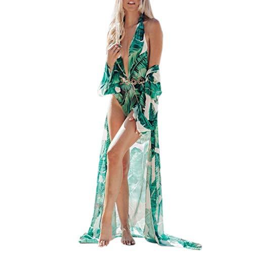Heatnine Lange Bluse für Frauen, Grün Blattdruck, Chiffon Damen Mode Bohemia Floral Kimono Extra lang Lange Absatz Strickjacke Cardigan