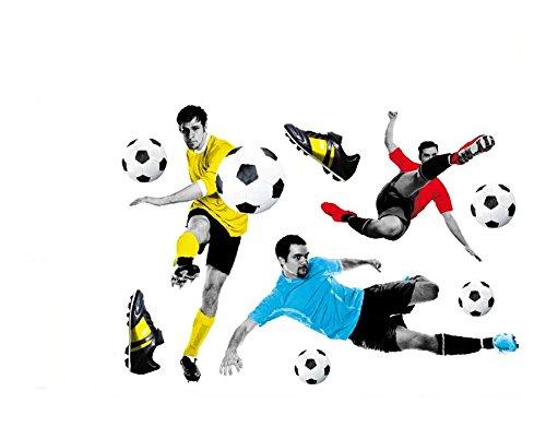 PVC Wand Aufkleber 3D Fußball self-adesive abnehmbar für Wohnzimmer Schlafzimmer Dekoration (Fußball-schlafzimmer Dekorationen)