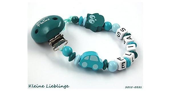 Schnullerkette mit Namen Auto Kleiner Prinz Baby  Junge blau