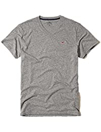 Hollister New Grey V Neck Icon T-Shirt Tee Top Boys Shirt Men SZ: Medium/M