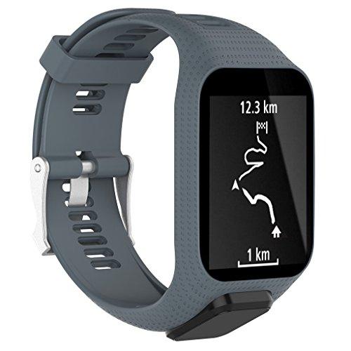 Hergon Neue Uhrenarmbänder, Silikon Ersatz Handgelenk Band Strap für TomTom Runner 2 3 Spark 3 GPS Faltschließe Armband Uhr Zubehör Armbänder (Grau)