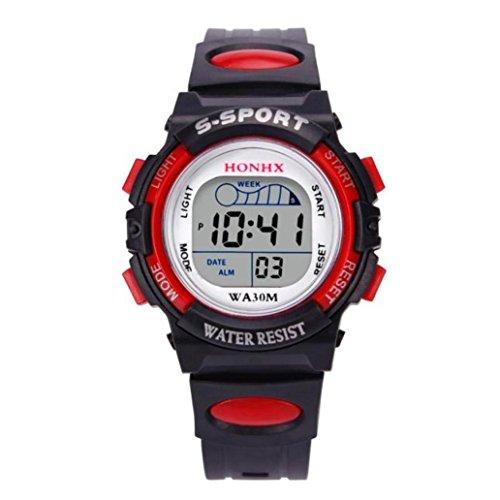 Valentinstag Uhren Dellin Wasserdichte Kinder Jungen Digital LED Sportuhr Kinder Alarm Datum Uhr Geschenk (Rot)