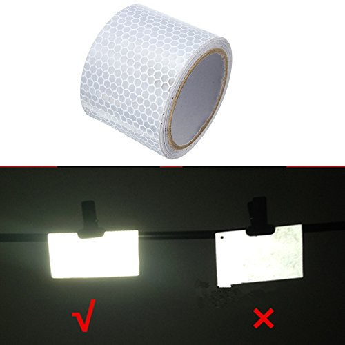 Preisvergleich Produktbild Tuqiang® Klebeband Warnklebeband Reflektorband Sicherheit Markierung Band 5cm×3m Silber weiss