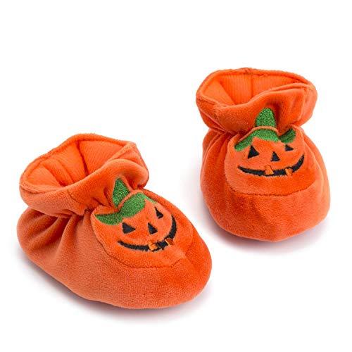 WangsCanis Neugeborenes Kürbis Weiche Sohle Halloween Pumpkin Säuglings Krippe Schuhe für Baby Mädchen Jungen Halloween und Fasching Kostüm (Orange, 12-18 Monate)