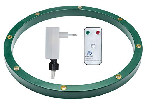 Star-Max Ring für Christbaumständer mit 8 0,5 Watt warmweissen LED, Adapter für den Innenbereich mit Timerfunktion 6/18 Std und Fernbedienung, grün