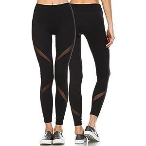 FITTOO Modische Mesh Leggings Fitness Hoher Bund Hosen Gaze Yoga Pants Joggen Workout Schwarz