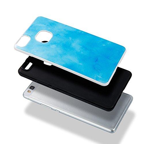 Cover Huawei P9 Lite, Alfort 2 in 1 Custodia Protettiva Placcatura Scrub Shell Alta Qualità Case PC + TPU Moda Semplice Linee di marmo ( Arancione ) 5,2 pollici Blu cielo