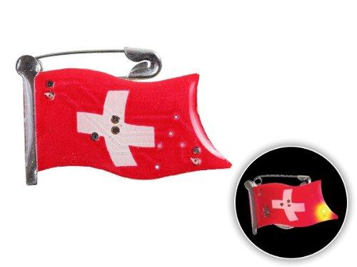 Spilletta LED con luce intermittente bandiera svizzera schweiz switzerland suisse spilla pin badge calcio europei mondiali tifosi ultra (106) - Personalizzati Pin Badge