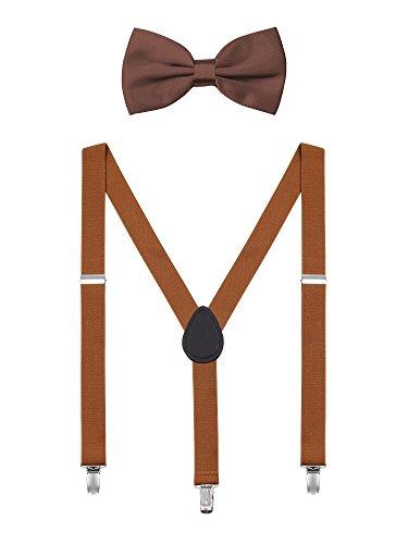 DEBAIJIA Unisex Hosenträger mit Fliege Set für Damen Herren Jugendliche Schick Design 3 Clips Elastisch Gürtel Längeverstellbar 155-180 Körperhöhe - Retro Braun