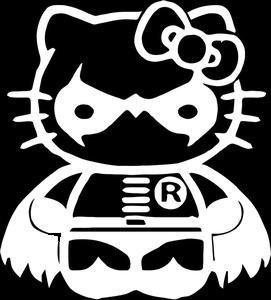 (SUPERSTICKI® Hello Kitty Robin From Batman Aufkleber Decal Hintergrund/Maße in Inch Vinyl Sticker|Cars Trucks Vans Walls Laptop| White |5.5 x 5 in|CCI995)