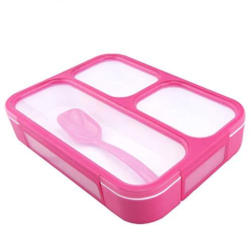 Oldpapa lunchbox scatola porta pranzo contenitore ermetico bento box 3 scomparti + cucchiaio microonde bpa free,rosso