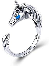 9cf16dc96f0d FOREVER QUEEN Anillo de Plata de ley 925 con Diseño de Unicornio
