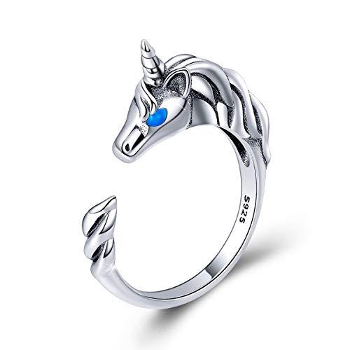 FOREVER QUEEN Anillo de Plata de ley 925 con Diseño de Unicornio, Anillos Abiertos Ajustables para Mujeres y Niñas, Regalo de Cumpleaños con Caja de Joyeria