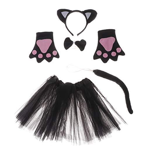 Ohr Schwarze Kostüm Katze - Amosfun 5 stücke Kinder Tier Kostüm Schwarze Katze Ohr Stirnband Fliege Schwanz Handschuhe Tüll Rock Party Supplies Cosplay Kostüm für Kinder