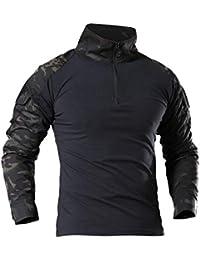LHHMZ Chemise à Manches Longues Militaire pour Homme Chasse au Combat en  Noir Randonnée T- d3bbdb5e699