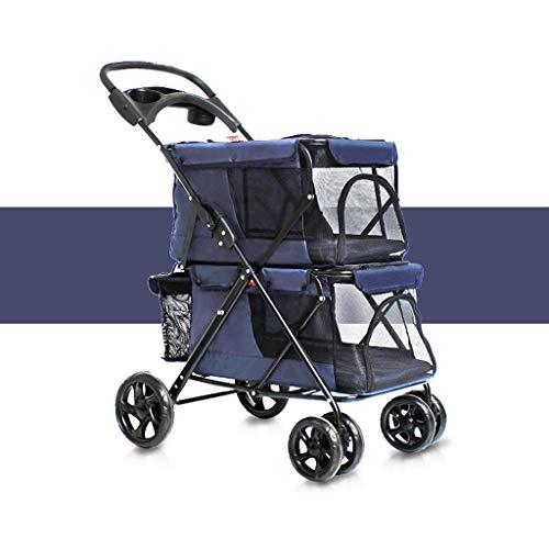 X&MM Pet Poussette, Facile Chiens Pliant Double Pet Trolley Grand Espace Chariots Quatre séries de Fournitures Voyage d'extérieur Chariot,A