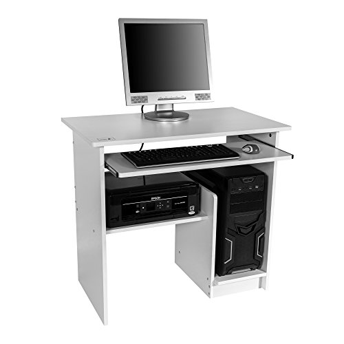 Image of Mari Home - Regent White Home Office Computer Corner Desk Workstation with Sliding Keyboard Shelf