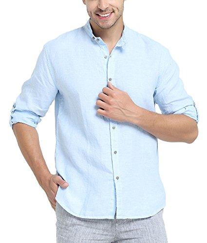 Najia symbol camicia di 100% lino collo alla coreana manica lunga spiaggia estiva uomo (blu, l)