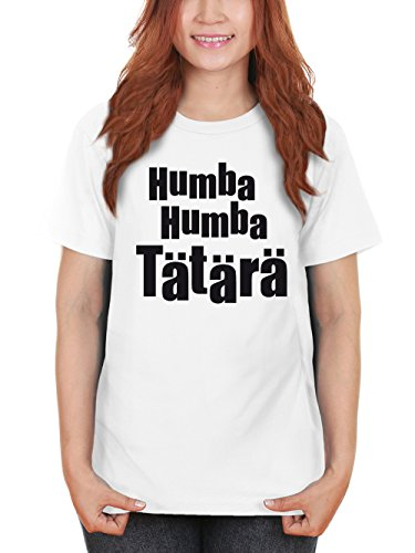 clothinx Damen T-Shirt Karneval Humba Humba Tätärä Weiß mit Schwarz