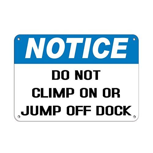 Vincentney Metal Tin Sign Notice Do Not Climb On Or Jump Off Dock Park Signs Wall Art Metal Sign 12x8 Inches