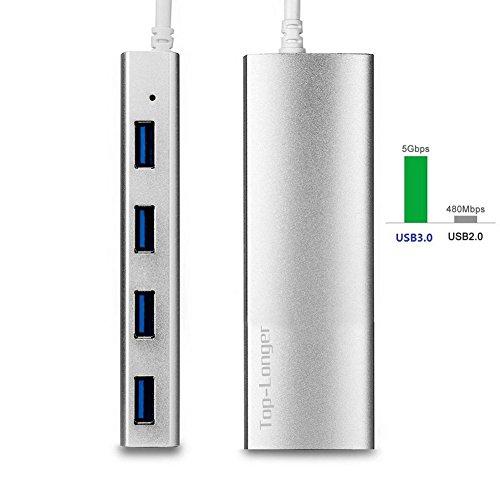 Top-Longer-Hub-USB-30-4-Puertos-Data-Aluminio-Hub-con-28CM-Cable-for-iMac-MacBook-Air-MacBook-Pro-MacBook-Mac-Mini-PCs-y-Laptops-Plata