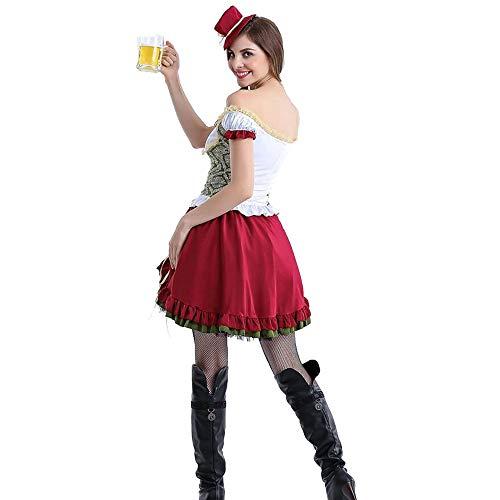 Irland Oktoberfest Kostüm - Frauen Oktoberfest Kostüm Bier Festival Kostüm, Deutsch München Kleid Lace-Up Slim Off-Shoulder Kleid-Long Short Absatz,Short,S