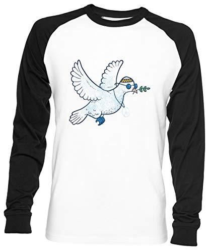 Das Hippie Taube Unisex Herren Frau Baseball T-Shirt Weiß Unisex Baseball T-Shirt