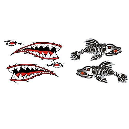 Preisvergleich Produktbild MagiDeal 4pcs Wasserdichter Aufkleber Autoaufkleber Abziehbilder für Fischerboot, Kajak, Kanu, Laptop, Reisekoffer, Ipad