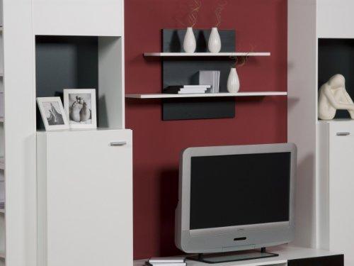 Wohnwand Weiß Schwarz – Top Design und Optik, Beleuchtung:mit Beleuchtung - 4