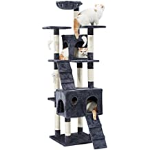 LANGRIA Rascador para Gatos Árbol 173 cm Alto Casa para Mascotas con Hamaca, Casita,