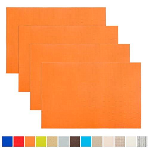 Aspire 4 pcs de set de table isolants, tapis de table, lavable., PVC, Orange, Taille unique