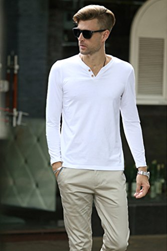 Minetom Uomini Casuale Manica Lunga Cime Slim Fit Polo Shirts Moda T-Shirt Clubwear Bianco