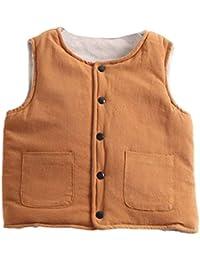 Chaleco para Niñas Niños Gilets Abrigos Sin Mangas Chaqueta Ropa Jacket Amarillo 90CM