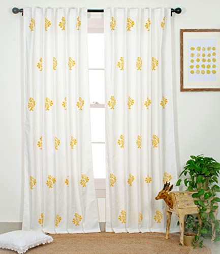 check MRP of yellow cotton curtains Portobello Curtain Co.