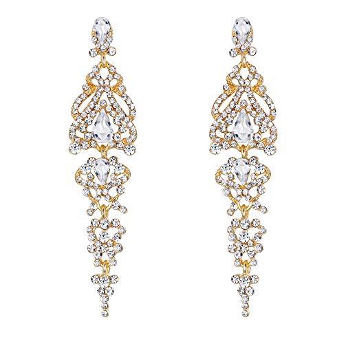 Clearine Damen Ohrringe Vintage Elegant Kristall Hochzeit Braut 1920er Jahre Hollow Floral Cluster Teardrop Ohrhänger Ohrstecker Ohr Schmuck Klar Gold-Ton