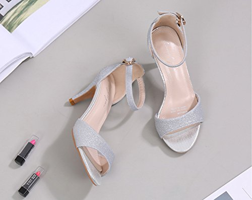 Wealsex damen stiletto sandalen peep toe high heels Silber