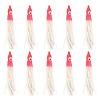 quanju cheer Fishing Supplies 10Pcs 9cm Artificial Squid Octopus Soft Bait Lures Tackle Accessories - Red + White