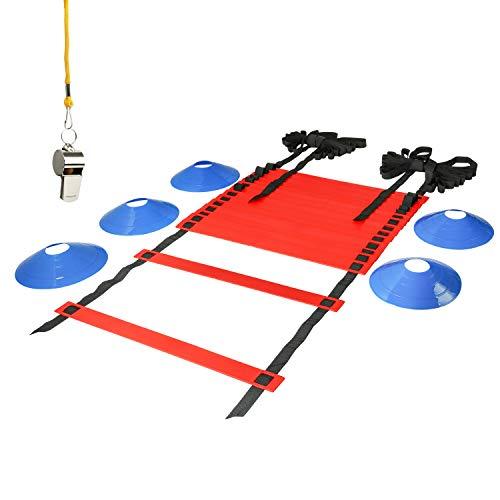 LionSports Koordinationsleiter - (Verbesserte Trainingsleiter Version 2019) Perfektes Trainingszubehör für Fussballtraining mit Markierungshütchen und Trillerpfeife (Rot, 6 Meter)