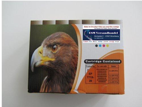 20 Druckerpatronen komp. für Epson T711 T712 T713 T714 8x schwarz 4x blau 4x rot 4x gelb (Epson-tinte Wf2530 200)