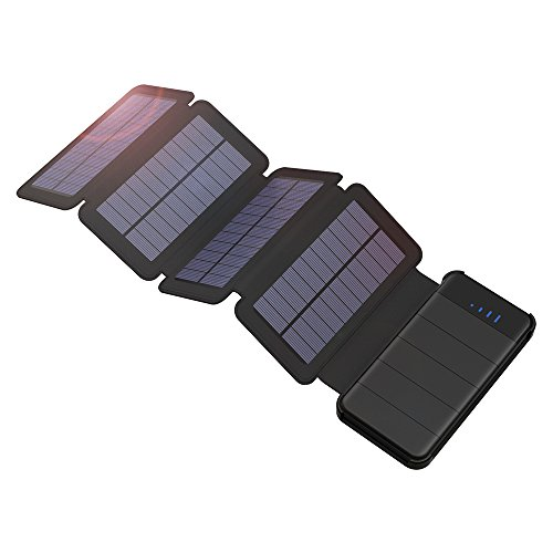 Spécifications:Batterie: batterie Li-polymère 10000mAh Énergie solaire: Peak 5W Entrée (Max): 5V 2.0A max Sortie (Max): USB 5V / 2A (Max.2.4A) Dimension: 6.1x3.1x1.2in (avec panneaux) /6x2.9x0.47in Poids: 13oz  Grande capacité avec 4 panneaux solair...