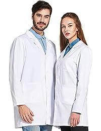 Icertag Bata de Laboratorio Unisex,médico Abrigo Abrigo de Mujer Hombre,Abrigo Blanco para Damas,Adecuado para Estudiantes de la Escuela Laboratorio de Ciencia Enfermera Cosplay